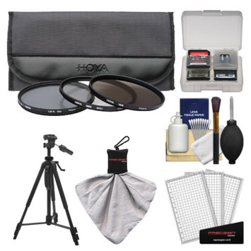 Hoya 72mm 3-Piece Digital Filter Set (HMC UV Ultraviolet, Circular Polarizer & ND8 Neutral Density) with Case + Tripod Kit for Canon, Nikon, Sony, Olympus & Pentax Lenses