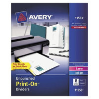 Avery 8-1/2 x 11 Print-On Dividers, 8-Tab, Unpunched- White (5 Sets