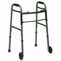 Mabis Briggs Healthcare Button Release Aluminum Folding Walker with Non-Swivel Wheels