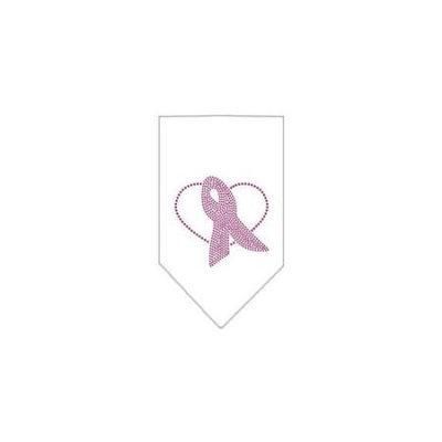 Ahi Pink Ribbon Rhinestone Bandana White Large