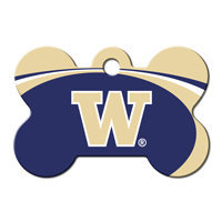 Quick-Tag University of Washington NCAA Bone Personalized Engraved Pet ID Tag, 1 1/2 W X 1 H