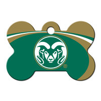 Quick-Tag Colorado State Rams NCAA Bone Personalized Engraved Pet ID Tag, 1 1/2 W X 1 H
