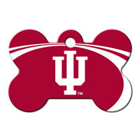Quick-Tag University of Indiana NCAA Bone Personalized Engraved Pet ID Tag, 1 1/2 W X 1 H