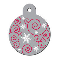 Quick-Tag Large Silver Ornament Personalized Engraved Pet ID Tag, 1 1/4 W X 1 1/2 H
