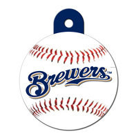 Quick-Tag Milwaukee Brewers MLB Personalized Engraved Pet ID Tag, 1 1/4 W X 1 1/2 H