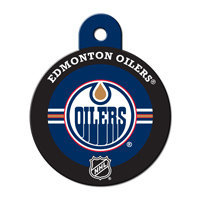 Quick-Tag Edmonton Oilers NHL Personalized Engraved Pet ID Tag, 1 1/4 W X 1 1/2 H