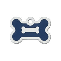 Quick-Tag Small Blue Epoxy Chrome Bone Personalized Engraved Pet ID Tag, 1 3/8 W X 3/4 H