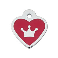 Quick-Tag Small Epoxy Red Heart Personalized Engraved Pet ID Tag, 1 W X 1 1/8 H