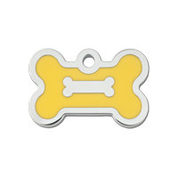 Quick-Tag Small Yellow Epoxy Chrome Bone Personalized Engraved Pet ID Tag, 1 3/8 W X 3/4 H