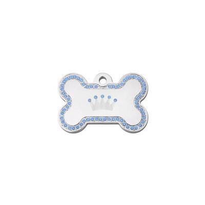 Quick-Tag Large Pave Blue Crown Bone Personalized Engraved Pet ID Tag, 1 1/2 W X 1 H