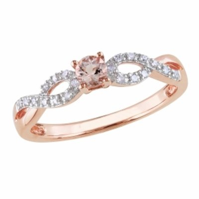 Amour Silver Diamond & Morganite Ring, Pink, White, 6, 1 ea