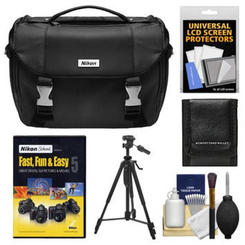 Nikon Deluxe Digital SLR Camera Case - Gadget Bag with Tripod + Nikon School Instructional DVD - Fast, Fun, & Easy 5 for D5000, D3100, D3000