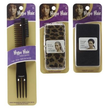 Conair Hype Hair Bundle - Includes 1 Bonnet, 1 Scarf, 1 Comb
