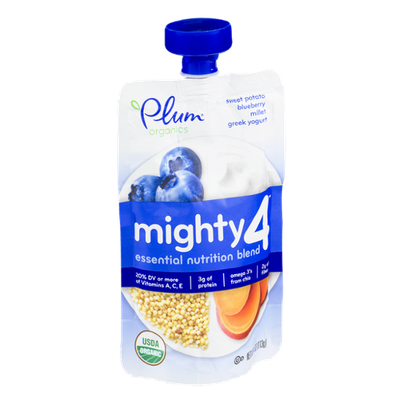 Plum Organics Mighty 4 Sweet Potato, Blueberry, Millet Greek Yogurt