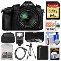 Panasonic Lumix DMC-FZ1000 4K QFHD Wi-Fi Digital Camera with 64GB Card + Case + Flash + Battery + Tripod + 3 Filters Kit