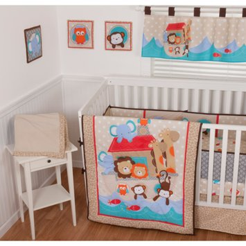 Sumersault Noah's Ark 10-Piece Nursery in a Bag Crib Bedding Set with Bumper
