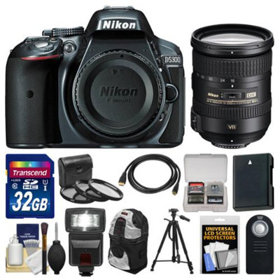 Nikon D5300 Digital SLR Camera Body (Grey) with 18-200mm VR II Zoom Lens + 32GB Card + Backpack + Flash + Battery + Tripod Kit