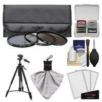 Hoya 62mm 3-Piece Digital Filter Set (HMC UV Ultraviolet, Circular Polarizer & ND8 Neutral Density) with Case + Tripod Kit for Canon, Nikon, Sony, Olympus & Pentax Lenses