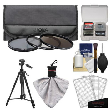 Hoya 62mm 3-Piece Digital Filter Set (HMC UV Ultraviolet, Circular Polarizer & ND8 Neutral Density) with Case + Tripod Kit for Canon, Nikon, Sony, Olympus & Pentax Lenses