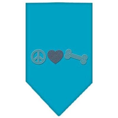 Mirage Pet Products 6761 SMTQ Peace Love Bone Rhinestone Bandana Turquoise Small
