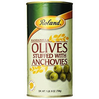 Roland Manzanilla Olives Stuffed with Anchovies, 1-Pound 9-Ounces Dry Weight Cans (Pack of 2)