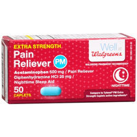 Walgreens Pain Reliever Extra Strength PM Caplets, 50 ea