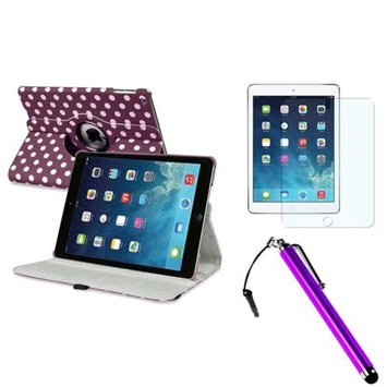 Insten INSTEN Purple/White Polka Dot 360 Leather Case Cover+AG Protector For Apple iPad Air 5 5th