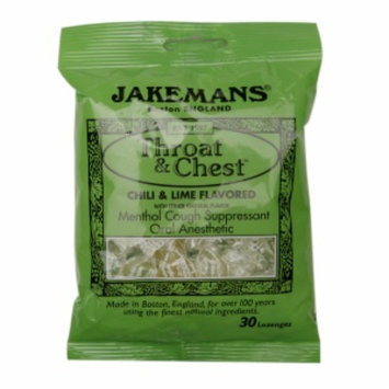 Jakemans Throat & Chest Lozenges, Chili & Lime, 30 ea
