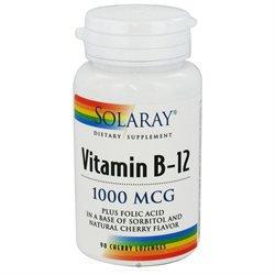Solaray Vitamin B-12 Cherry - 1000 mcg - 90 Lozenges