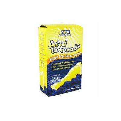 NOW Foods Acai Lemonade Stevia Drink Sticks, 12 ct