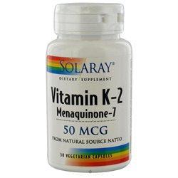 Solaray Vitamin K-2 Menaquinone-7 - 50 mcg - 30 Vegetarian Capsules