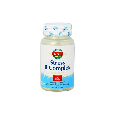 Kal - Stress B-Complex 155 mg Vitamin C with AromaSmooth Coating - 50 Tablets