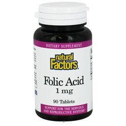 Folic Acid 1 mg 90 Tablets, Natural Factors