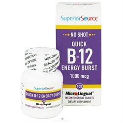 Superior Source - No Shot B12 Quick Energy Burst Instant Dissolve 1000 mcg. - 100 Tablets