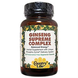 Country Life Herbals Ginseng Supreme Complex - 60 Vegetarian Capsules