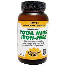 Country Life Total Mins Iron-Free - 150 Vegetarian Capsules