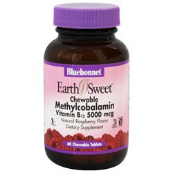 Bluebonnet Nutrition - Earth Sweet Chewable Methylcobalamin Vitamin B-12 Natural Raspberry Flavor 5000 mcg. - 60 Chewable Tablets