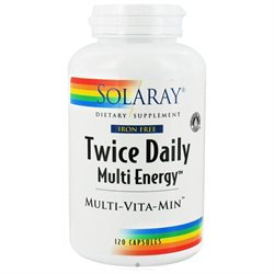 Solaray Twice Daily (Iron Free) - 120 Capsules - Multivitamins with Iron