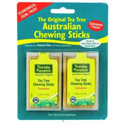 Thursday Plantation - The Original Australian Tea Tree Chewing Sticks Toothpicks Twin Pack Special Cinnamon Flavor - 200 Sticks