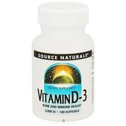 Source Naturals Vitamin D-3 - 5000 IU - 100 Softgels