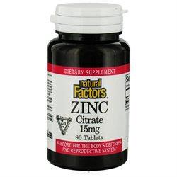 Natural Factors - Zinc Citrate 15 mg. - 90 Tablets