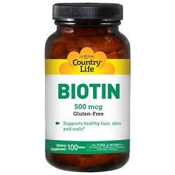 Biotin 500 Mcg 100 Tab By Country Life Vitamins (1 Each)