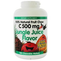 Vitamin C 500mg Jungle Chewable 180 Tablets, Natural Factors