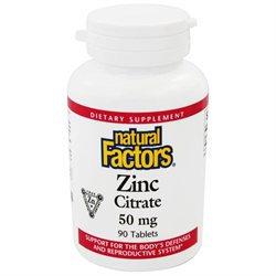Natural Factors - Zinc Citrate 50 mg. - 90 Tablets