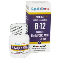 Superior Source No Shot B12 - B6 and Folic - 60 Instant Dissolve Micro-Tablets