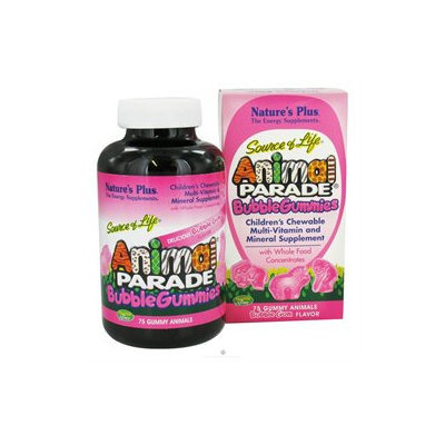 Nature's Plus Animal Parade Gummies Bubble Gum - 75 Gummies - Children's Multivitamins