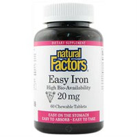 Easy Iron 20 mg Chewable, 60 Tablets, Natural Factors
