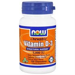 NOW Foods - Vitamin D-3 Chewable Natural Mint Flavor 5000 IU - 120 Chewables