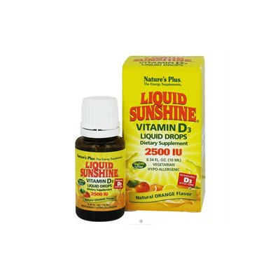 Nature's Plus Liquid Sunshine Vitamin D3 2500IU, Orange, .34 fl oz