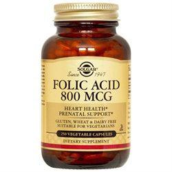 Solgar - Folic Acid 800 mcg. - 250 Vegetarian Capsules